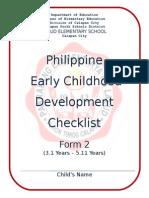 Ecd Checklist Kindergarten