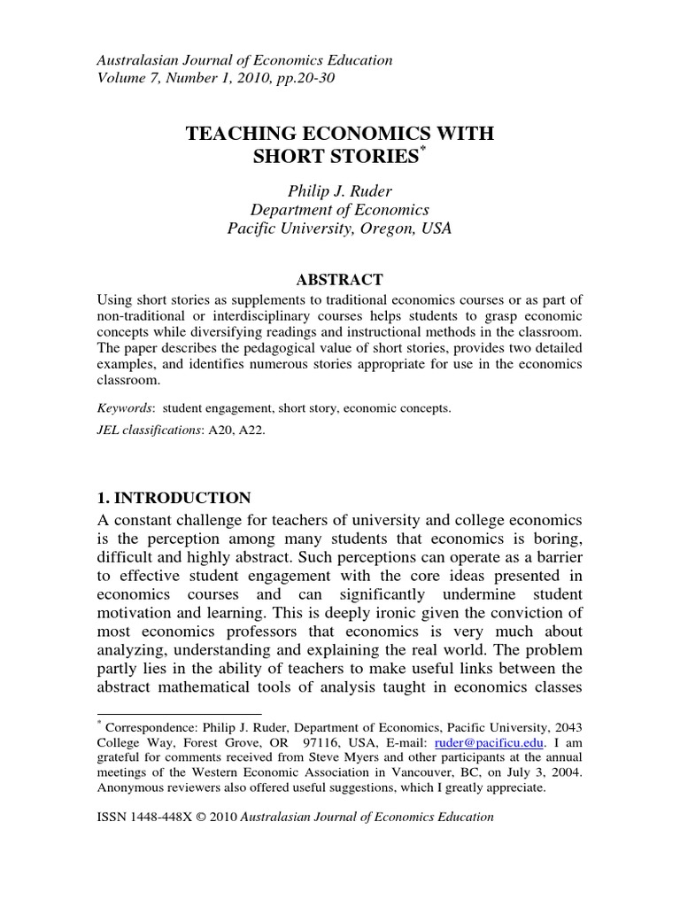 3 Teaching Economics With Short Stories Philip J Ruder