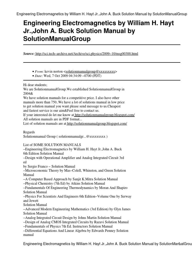 99ebook com msg00388 signal electrical engineering engineering rh scribd com solution manual of engineering circuit analysis by william hayt 8th edition Stephen K Hayt Elementary Chicago