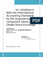 Report on compliance with the International Accounting Standards by the engineering companies listed under Dhaka Stock Exchange
