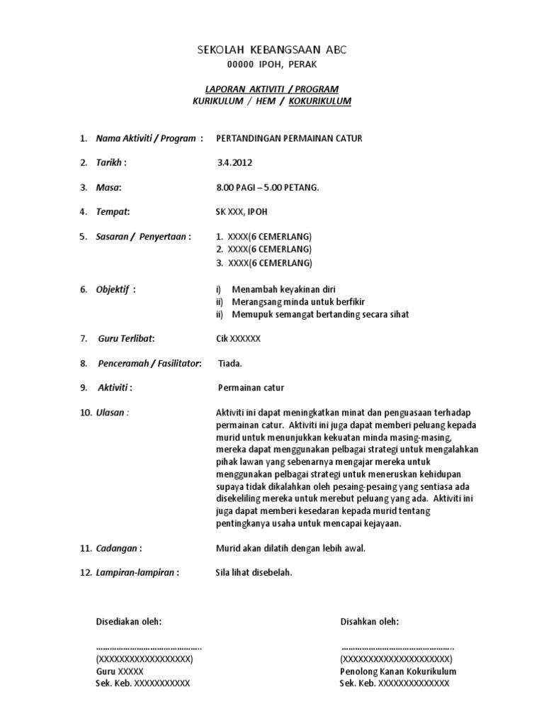 Format Laporan Aktiviti Sekolah