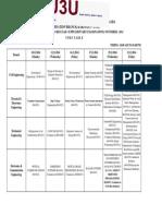 B.Tech 4-1(R10) Regular/Supplementary Examinations Timetable (Nove-2014)