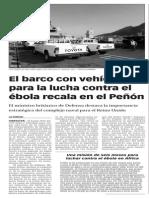 141022 La Verdad CG- El barco con vehículos para la lucha contra el ébola recala en el Peñón p.10