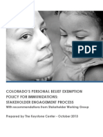 Personal Belief Exemption Stakeholder Engagement Report