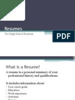 High School Resume Powerpoint
