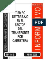 Tiempo de trabajo en el sector del transporte en carretera
