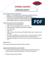 VACANCY - Operations Analyst