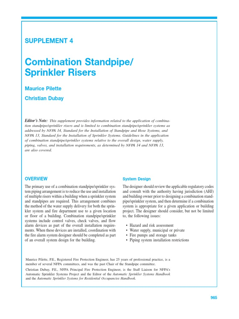 COMBINATION STANDPIPE -SPRINKLER RISERS- NFPA pdf | Fire