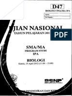 Naskah Soal UN Biologi SMA 2012 Paket D47