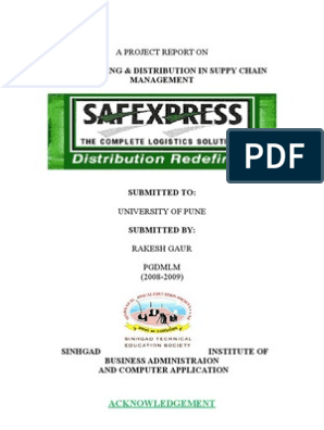 15990360 Project on Safexpress Warehousing and Supply Chain