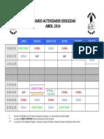 Horario Actividades Dirigida Abril 2014