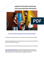 Texas Occupational Therapists Continuing Education and License Renewal Information