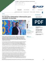 """""""Se necesita sistematizar información para combatir el sicariato"""" Entrevista para PuntoEdu"""