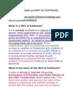 Writ of Kalikasan and Writ of Continuing Mandamus