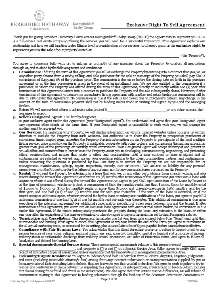 Blank Listing Agreement With Disclosures Lease Arbitration