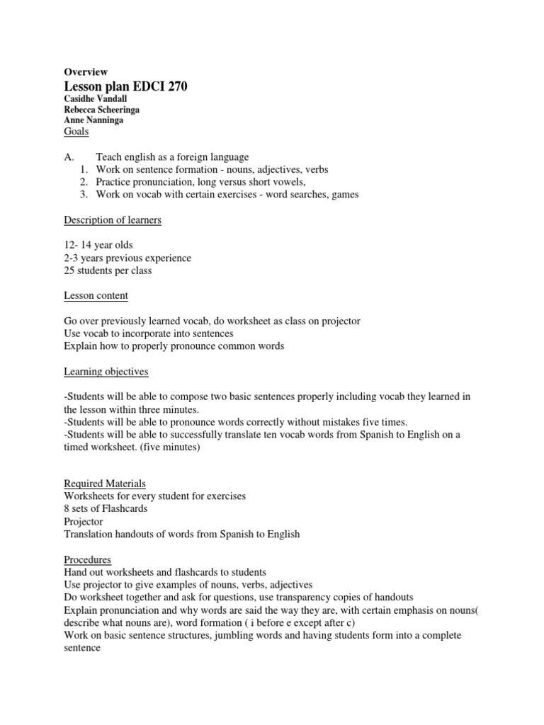 - Case 1 Plan De Cours Langue Anglaise