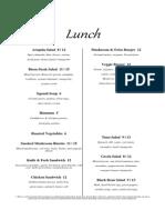 Fall Lunch Menu 2014