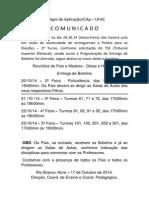 Comunicado para os Professores e Pais - Reuniu00F5es de  Entrega de Boletins - Outubro 2014.docx