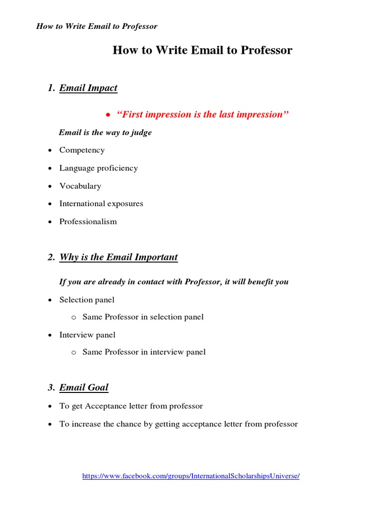 how to write email to professor