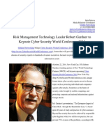 Risk Management Technology Leader Robert Gardner to Keynote Cyber Security World Conference 2014
