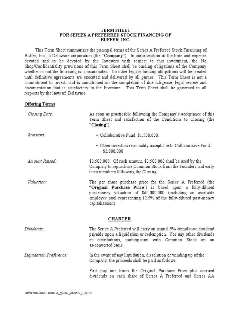 Buffer Transparent Term Sheet Series A Stocks Securities Finance