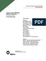 Oct. 23 Metro Board of Directors meeting