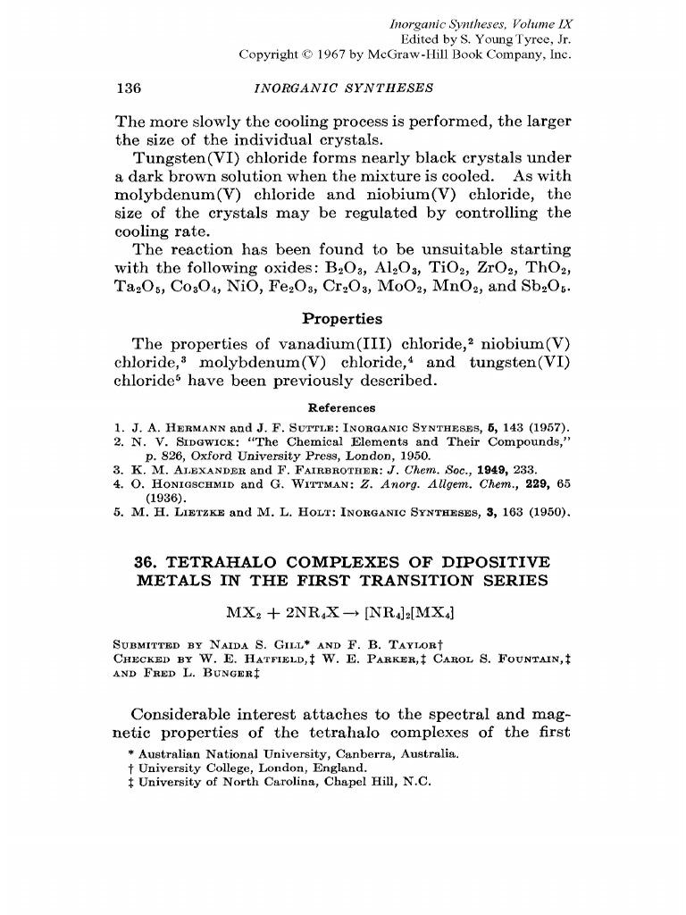 Inorganic Syntheses, Volume Ix