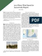 Prediction of Basic Wind Speed for Ayeyarwady Region