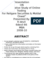 """Comparative Study of Online Trading For Religare Securities & Motilal Oswal"""