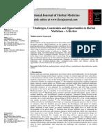 Challenges, Constraints and Opportunities in Herbal Medicines