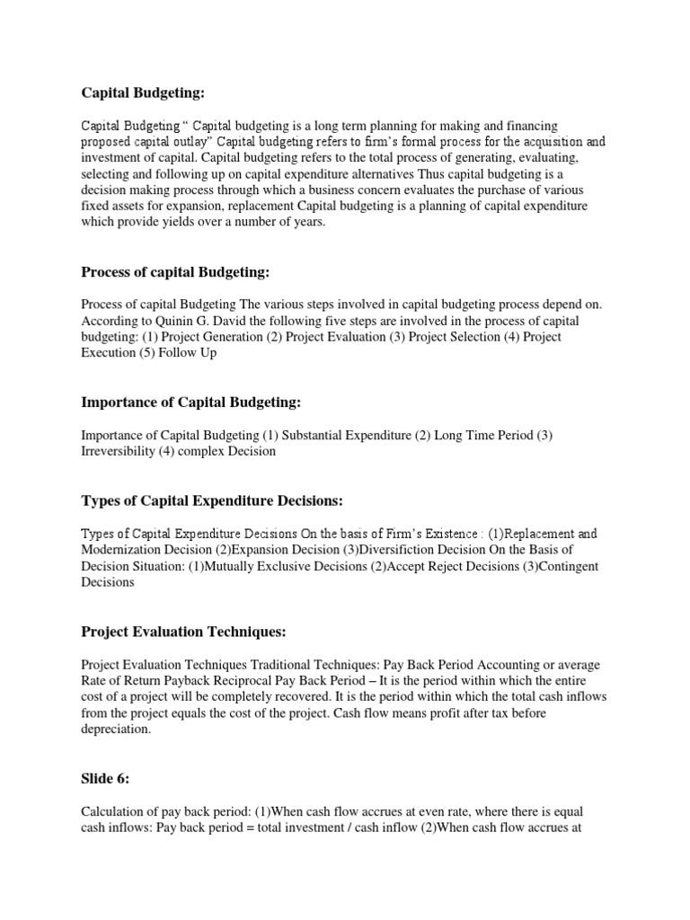 capital budgeting process steps