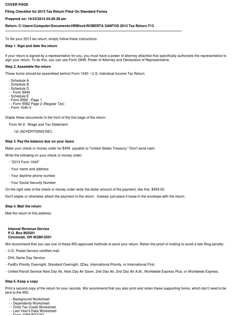 Santos Returnpdf Income Tax In The United States – Child Tax Credit Worksheet