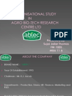 organizational study on ABTEC