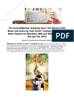 """The Award-Winning """"Anything Goes -The Musical With Music and Lyrics by Cole Porter"""