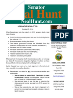 October Legislative Newsletter from Senator Neal Hunt