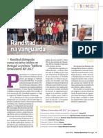 """randstad ganha o prémio do 1º lugar nos """"Melhores Fornecedores RH 2012"""" na categoria do Trabalho Temporário e Outsourcing em Portugal"""