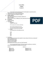 Lesson Plan  English  Grade II