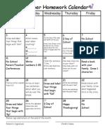 november homework calendar2013
