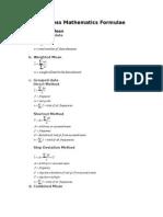 Business Mathematics Formulae