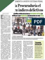 23-10-2014 Descarta la Procuraduría el  aumento en índices delictivos
