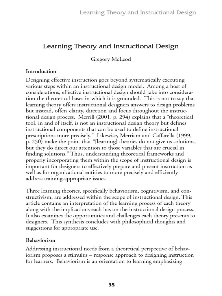 Learningtheory Constructivism Philosophy Of Education Instructional Design