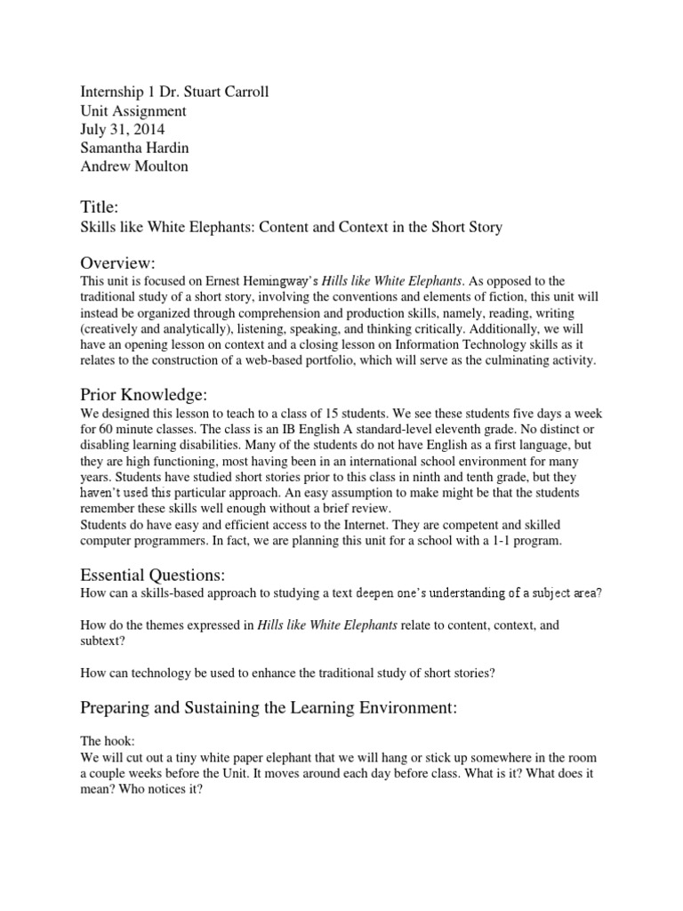 research paper over hills like white elephants Abortion and 'hills like white elephants' by ernest understand that by completing this form you are authorizing the the paper store enterprises, inc to send the described research paper using the medium for transmission that ernest hemingway's 'hills like white elephants' and white.