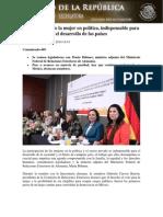 23-10-14 BOLETÍN Participación de la mujer en política, indispensable para el desarrollo de los países