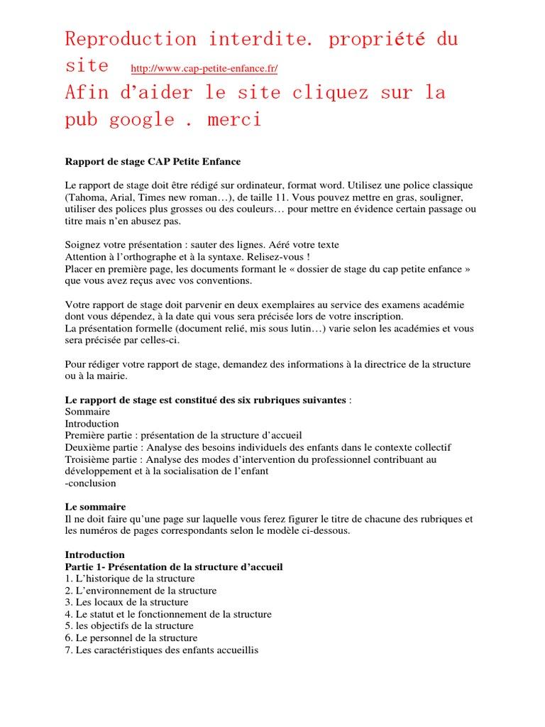 Conseils Rapport De Stage Cap Petite Enfance Pdf Google