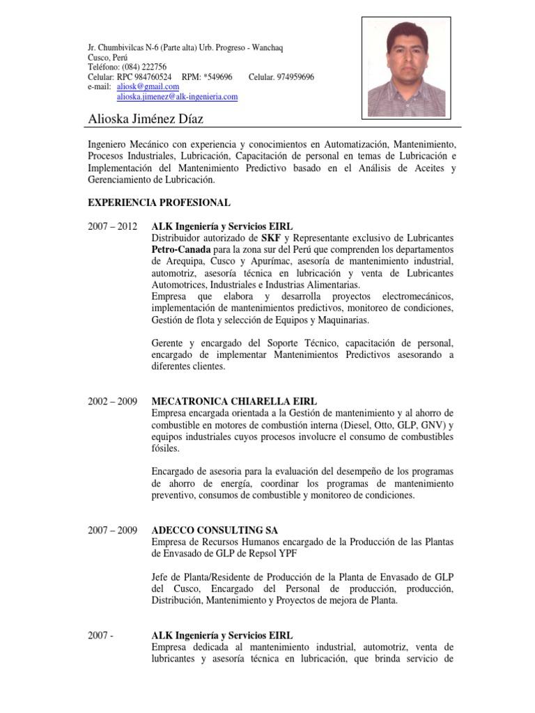 Fantástico Plantilla De Curriculum De Ingeniero Mecánico Patrón ...