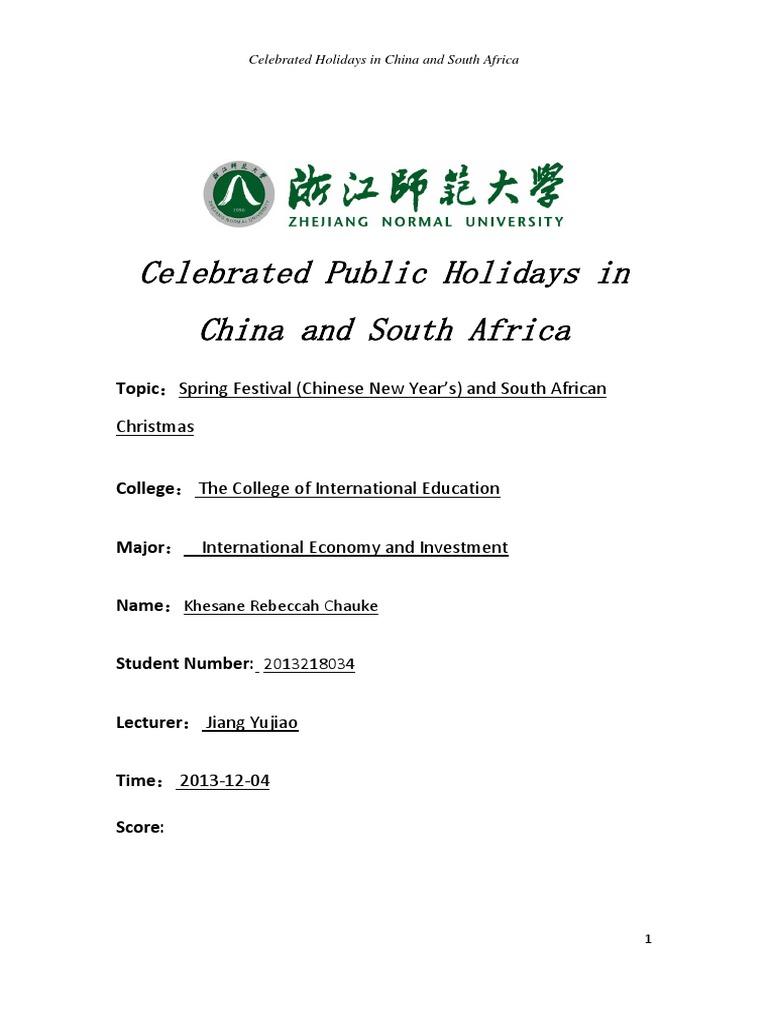 Celebrating Public Holidays in China and South Africa- Khesane ...