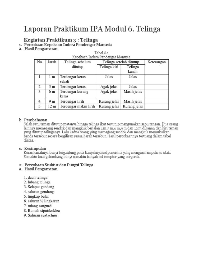 Laporan Praktikum Ipa Di Sd Modul 1 9 Seputar Laporan
