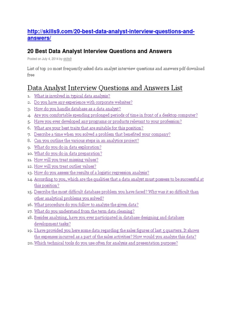 Good Data Analyst Interview Questions And Answers