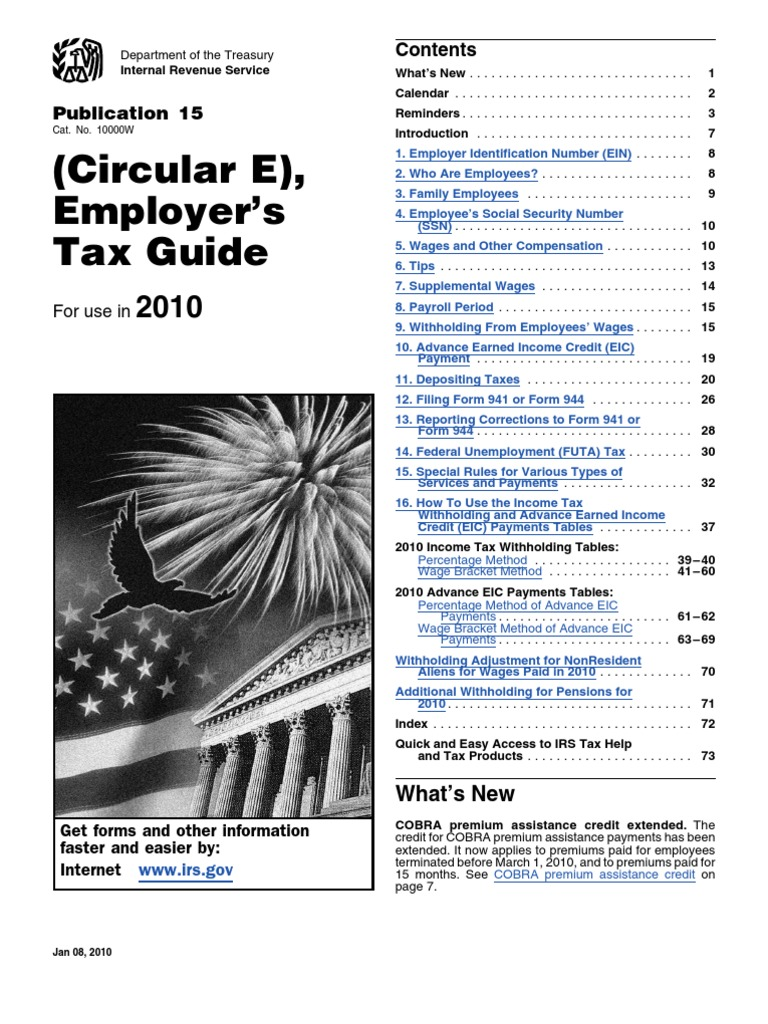 IRS Publication 15 Withholding Tax Tables 2010   Consolidated ...