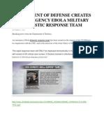 Department of Defense Creates an Emergency Ebola Military Domestic Response Team
